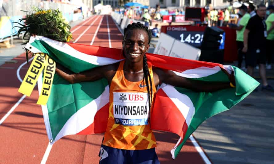Francine Niyonsaba, pictured after winning the Diamond League women's 5,000m in Zurich, has set a new world record in the 2,000m in Zagreb.