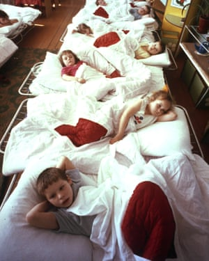 Young children suffering intestinal problems from exposure to radiation rest in a hospital ward in Syekovo, a village near the Chernobyl nuclear plant on April 21, 1990.