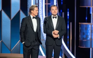 Brad Pitt, who won best supporting actor in a musical or comedy for his role in Once Upon a Time In Hollywood, and Leonardo DiCaprio