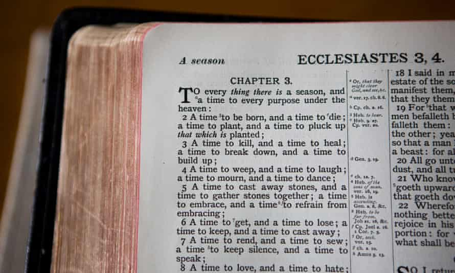 """A Bible showing the passage Ecclesiastes; Chapter 3; """"To everything there is a season..."""