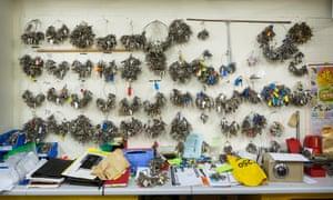 Wall of keys in locks workshop.