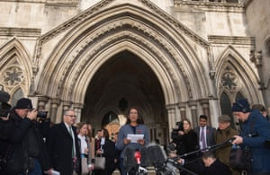 Lead claimant in the article 50 case, Gina Miller (centre), gives a statement outside of the high court in London this week.