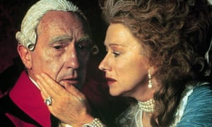 Nigel Hawthorne as George III, with Helen Mirren playing Queen Charlotte in the 1994 film The Madness of King George