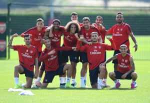 Arsenal players after a training session on Friday.