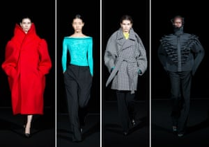 BalenciagaDemna Gvasalia's 109-look co-ed collection was about story telling. It was his modern vision of Parisian style. Gvasalia said backstage: 'I decided to look at the clothes of Balenciaga that are important to me and to modernise them.' From minimal tailoring to red buttonless cocoon coats, and baby doll dresses. Outwear was important, with numerous moulded coats and chic pant suits, either buttonless or with hidden buttons. The hero pieces were the finale – coats constructed and sculpted to form collars and hoods, that stood away from the body, obscuring the profile of the models