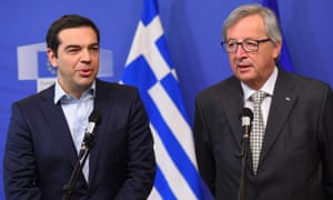 Greece's Prime Minister Alexis Tsipras (L) and European Commission President Jean-Claude Juncker address the media at the European Commission in Brussels on March 13, 2015.
