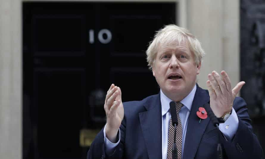 Britain's Prime Minister Boris Johnson delivering a speech outside 10 Downing Street.