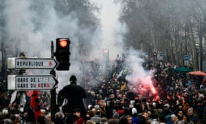 A street protest in Paris.