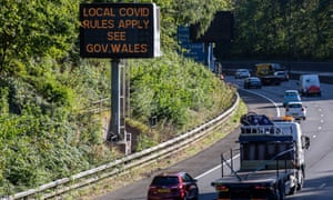 A message on the M4 at Newport warning motorists approaching Cardiff about new lockdown restrictions.