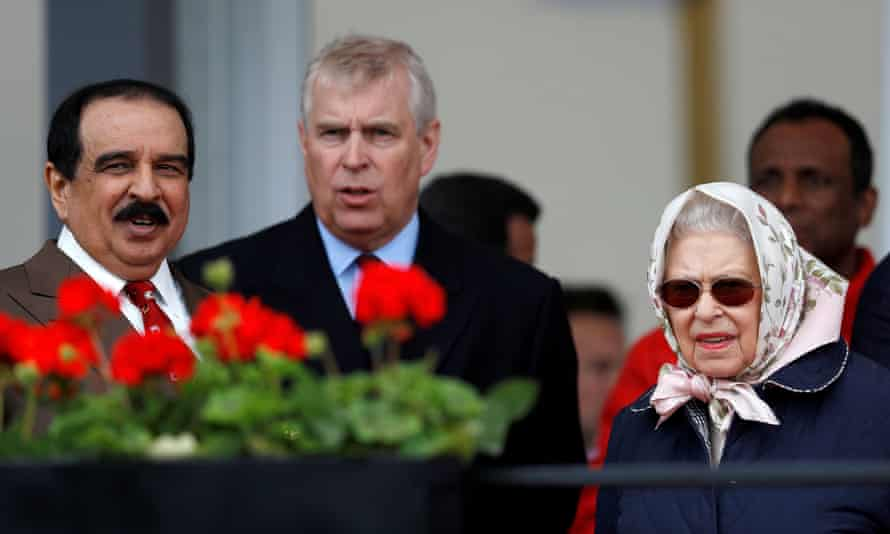 Queen Elizabeth, Prince Andrew and the King of Bahrain attend the Royal Windsor Horse Show in 2018.