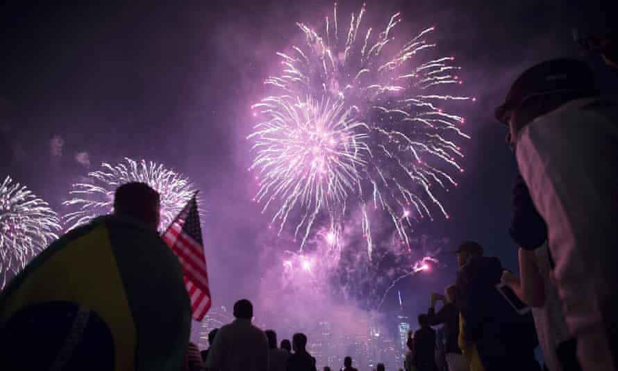 Fireworks light up the skyline during the Macy's fireworks show in New York City on 4 July 2014.