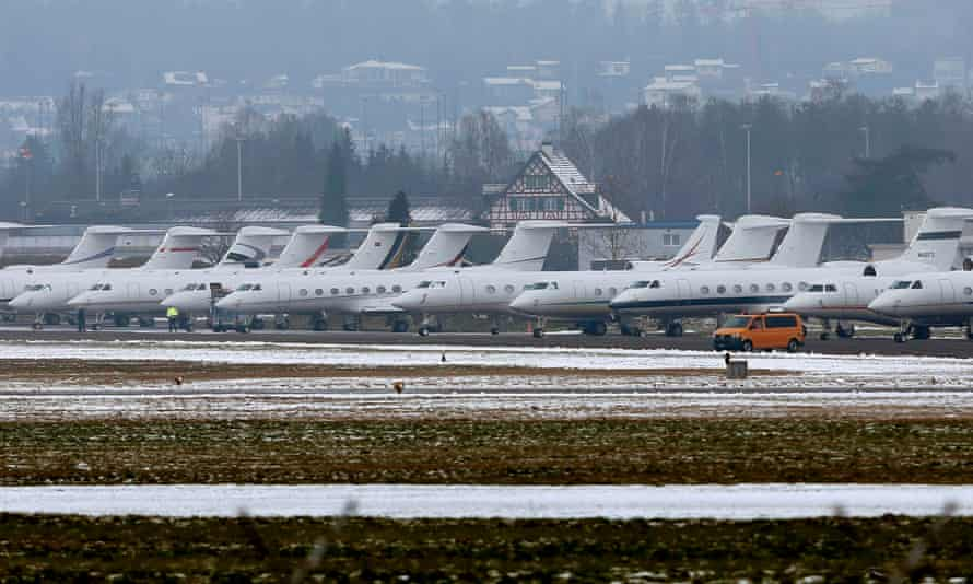 Passenger jets at the Swiss Airforce base in Duebendorf, Switzerland. The airport is used for arrivals and departures at the World Economic Forum in Davos