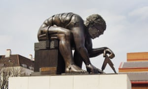 A statue of Newton at the British Library.