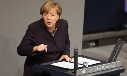 Angela Merkel speaks at the Bundestag