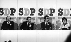 Roy Jenkins, David Owen, William Rodgers and Shirley Williams at the launch the SDP in 1981.