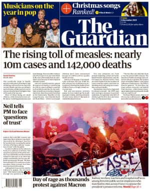 Guardian front page, Friday 6 December 2019
