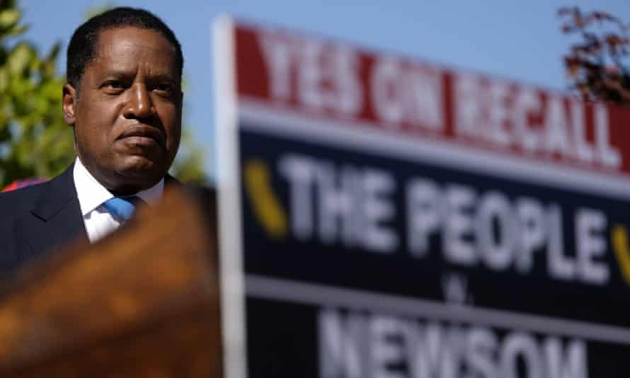 Larry Elder, the conservative radio host, appears at a campaign event in Monterey Park, California, on 13 September.