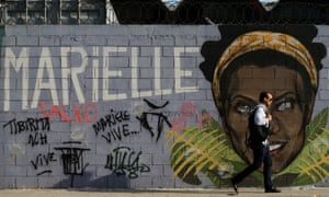 An image of murdered activist and councilwoman Marielle Franco, in Rio de Janeiro.