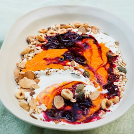 Mango and blackcurrant breakfast bowl.