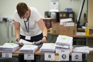 Ballot papers are counted at the Pembrokeshire Archives building in Prendergast
