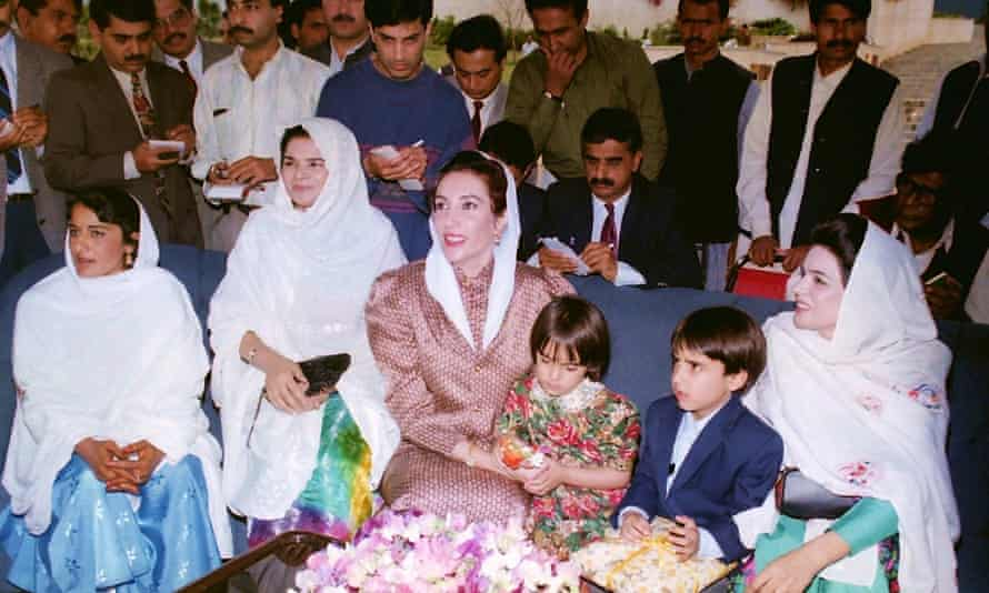 Bilawal Bhutto Zardari with his mother at the prime minister's house in Islamabad