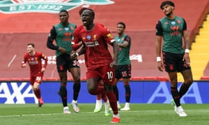 Liverpool's Sadio Mané celebrates after scoring the opening goal of the 2-0 win against Aston Villa