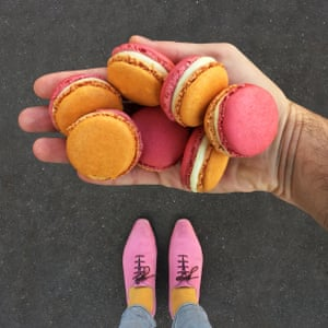 Best foot forward: pink shoes, yellow socks and a handful of macarons.