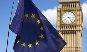 An EU flag is flown in front of the Houses of Parliament.