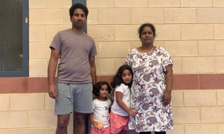 Nades (left) and Priya (right) Murugappan with their Australian-born daughters, Kopika, 5, and Tharunicaa, 3, at the detention centre on Christmas Island.