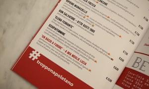 'Elena Ferrante' Pizza on the menu at Pizzeria Carmnella