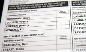 Ballot paper for Labour leadership election