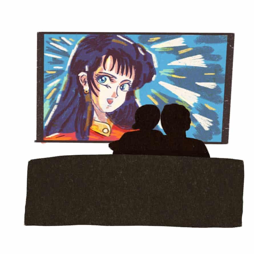 illustration of couple watching animation