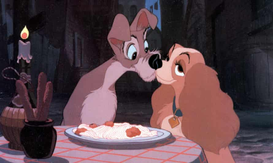 Lady and the Tramp during their famous spaghetti sharing scene.