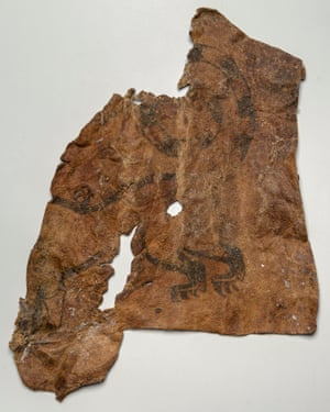 Part of human skin with a tattoo from Scythians exhibition, British Museum