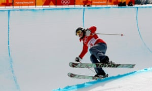 Elizabeth Marian Swaney of Hungary in action during the Women's Freestyle Skiing Ski Halfpipe qualification