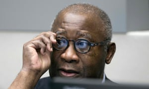Former Ivory Coast president Laurent Gbagbo looks on before the start of his trial at the ICC on Thursday.