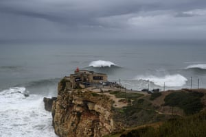 The cliffs and lighthouse at Nazaré.