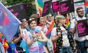 LGBT campaigners in Belfast