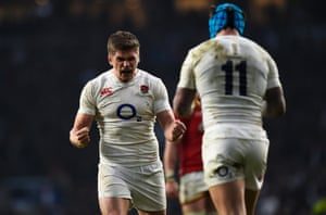 Owen Farrell celebrates victory with Jack Nowell.