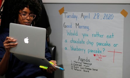 Boston Public School teacher Princess Bryant teaches her kindergarten class online.
