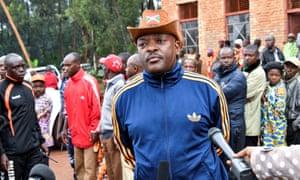 Burundi President Pierre Nkurunziza addresses the media after casting his ballot.