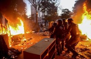 Operação policial na Cracolândia no começo do ano. Fotografia: Fernando Bizerra Jr/EPA