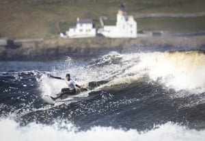 Caithness, Scotland: England's Lucy Campbell takes part in the women's grand final during day two of the British Surfing Championships at Thurso East
