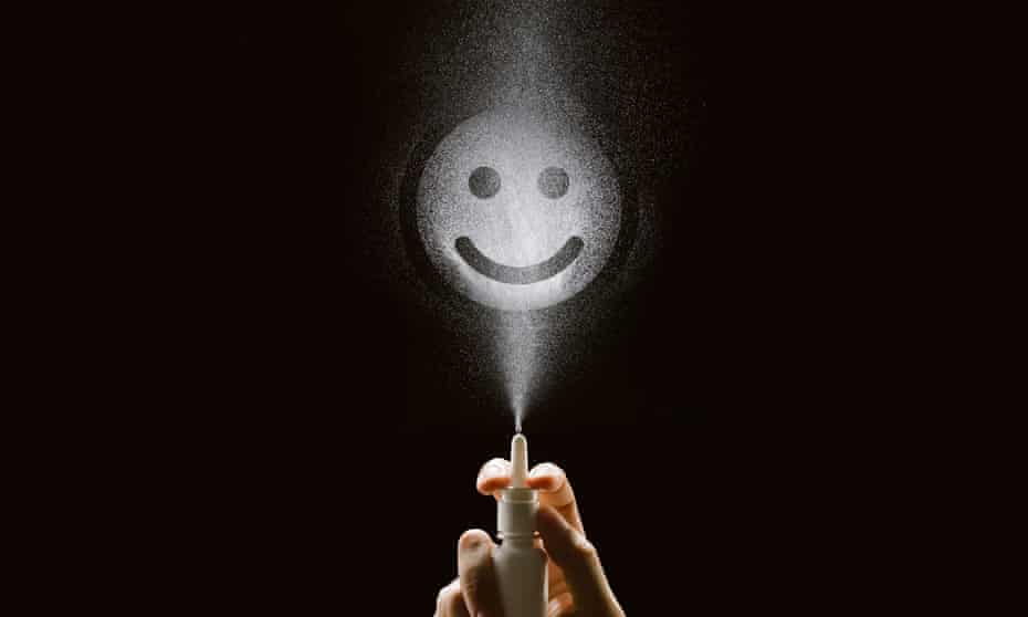 ketamine nasal spray with smily face made of droplets