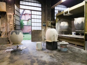 Emma Hart's giant jug 'heads' take shape in the Faenza studio where she learned Italian techniques.