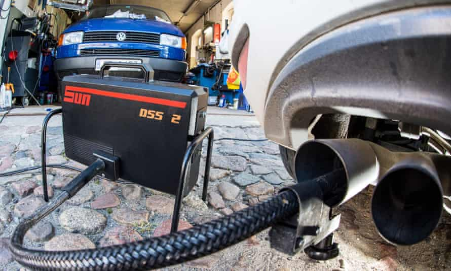 A VW undergoing exhaust emissions tests.