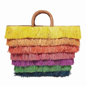 yellow, orange, red, pink, purple, green, blue fringed beach bag, Net-A-Porter
