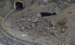 A state highway tunnel near Kaikoura is partially buried after a powerful earthquake hit on Monday.