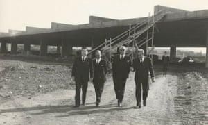 Tripoli Fair general manager Amado Chalhoub inspects construction progress, circa 1967.