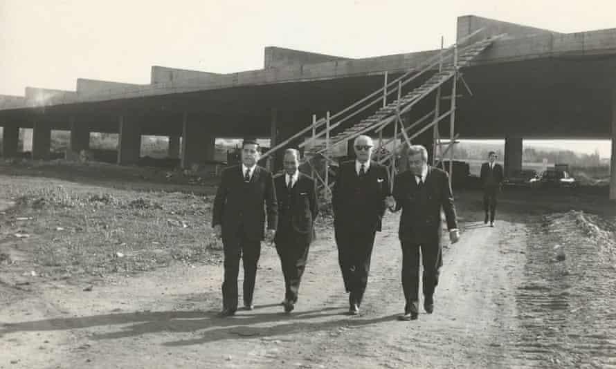 Tripoli Fair general manager Amado Chalhoub inspects construction progress, circa 1967.